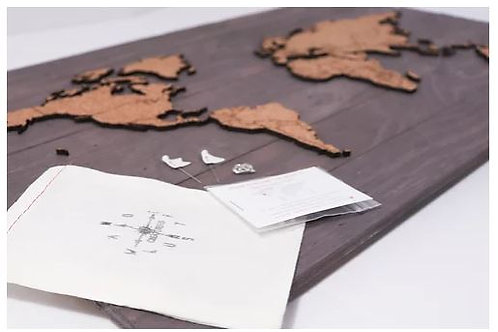"Grey Push Pin Travel Map 24x14"" - Wanderlust Creatures"