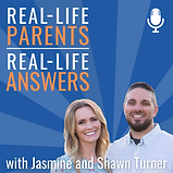 Man and woman smiling with blue background with text Real-life Parents Real-Life Answers with Jasmine and ShawnTurner