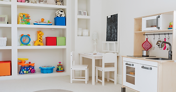 An organized and decluttered kids playroom