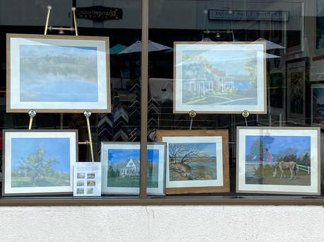 Window display at Bob's Art & Framing, August 2020