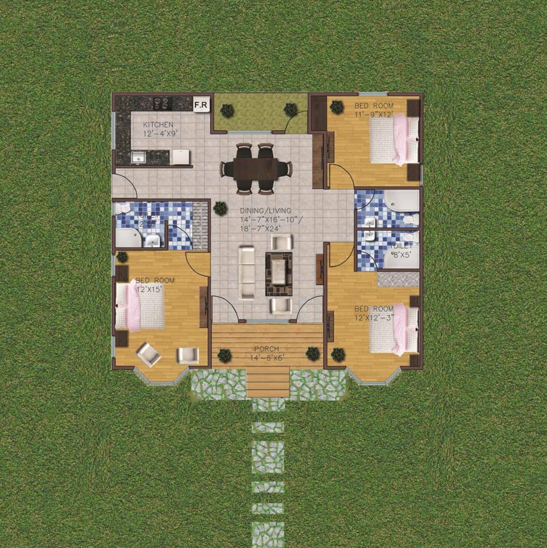 3 Bedroom 1430 sq ft