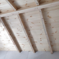 Ceiling rafters.