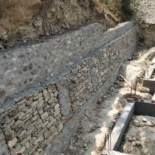 Founadtion and retaining wall.