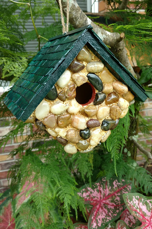 Hanging Bird House-Stone Clad with Cedar Shake Roof