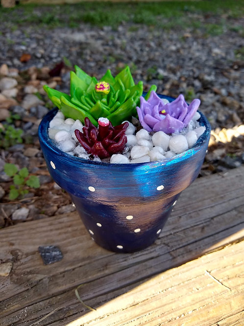 Three polymer clay succulents in painted 4 inch pot