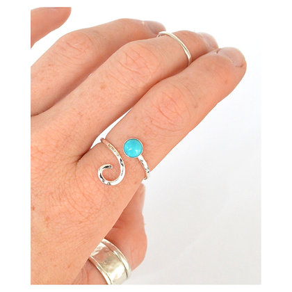 6mm Turquoise Adjustable Wave Ring