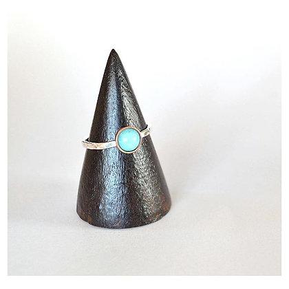Peruvian Amazonite Copper and Silver Ring