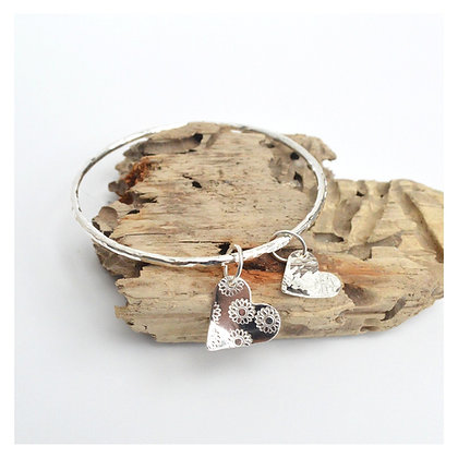 Sunflower Print heart Charm Bangle