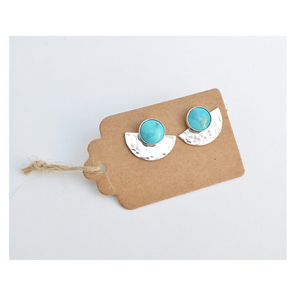 Turquoise Semicircle Studs
