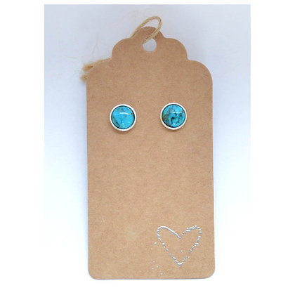 Turquoise Sterling Silver Studs - 8 mm