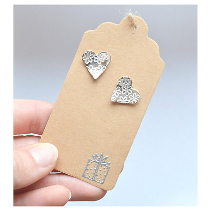 Sterling Silver Heart Studs - Daisies