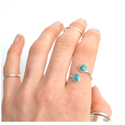 Adjustable 6mm Turquoise Wrap Ring