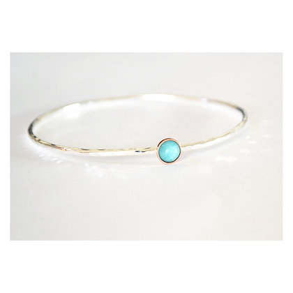 2 mm Peruvian Amazonite and Copper Bangle