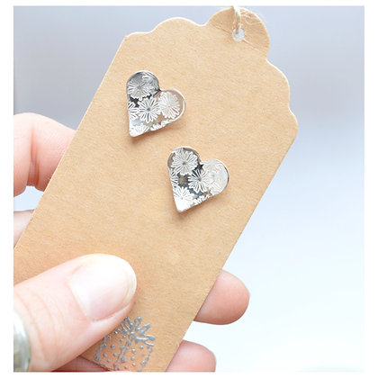 Sterling Silver Heart Studs - Flowers