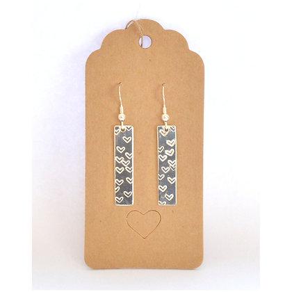 Heart Stamped Drop Earrings