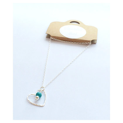 Heart and Turquoise Bead Pendant