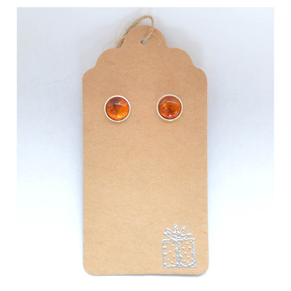 Amber Sterling Silver Studs - 8 mm