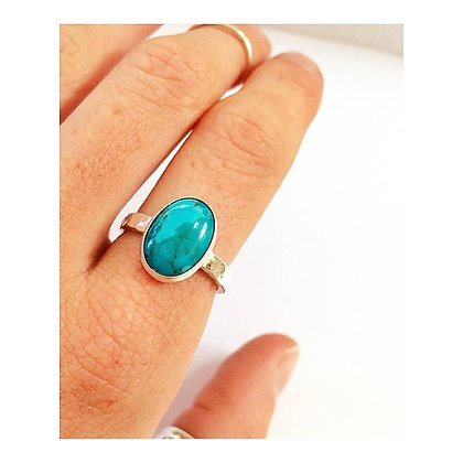 Oval Turquoise Beaten Ring