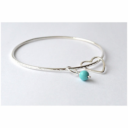 2mm Beaten Heart & Turquoise Bangle
