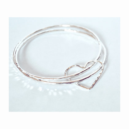 Double Large Wire Heart Bangle