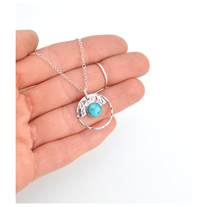 Turquoise Semicircle and Hoop Necklace