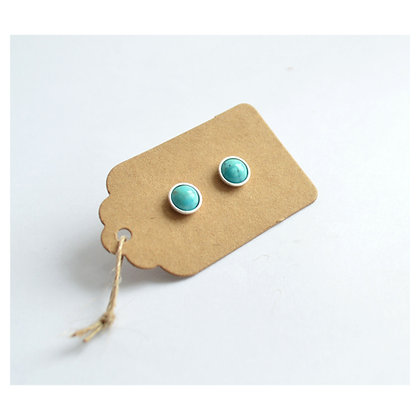Turquoise Sterling Silver Studs - 6 mm
