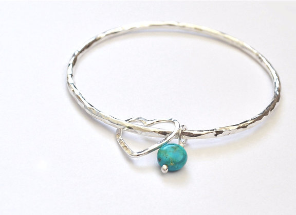 Wire Heart and Turquoise Bangle