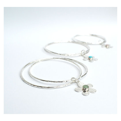 Double Bangle with Flower Charm