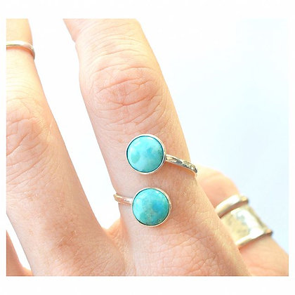 Adjustable 8mm Turquoise Wrap Ring