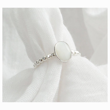 Oval Mother of Pearl Beaded Ring