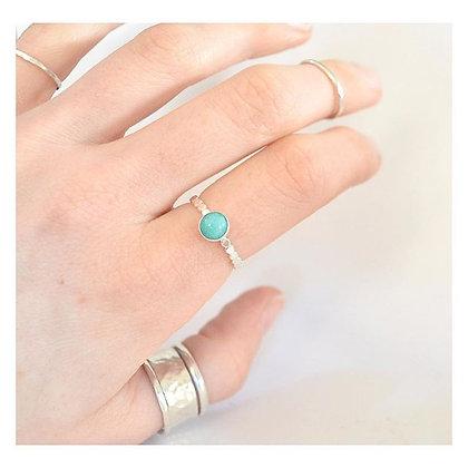 Peruvian Amazonite Silver Beaded Ring