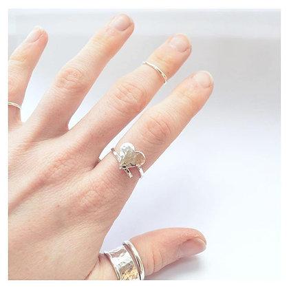 Adjustable Beaten Heart Ring