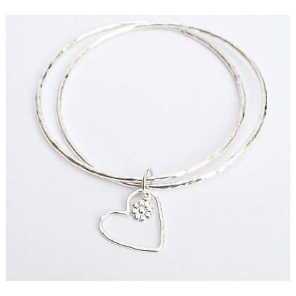 Double Bangle with Heart and Flower Charm
