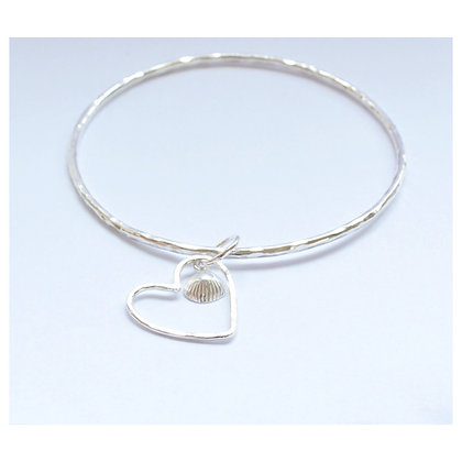 Wire Heart and Shell Bangle