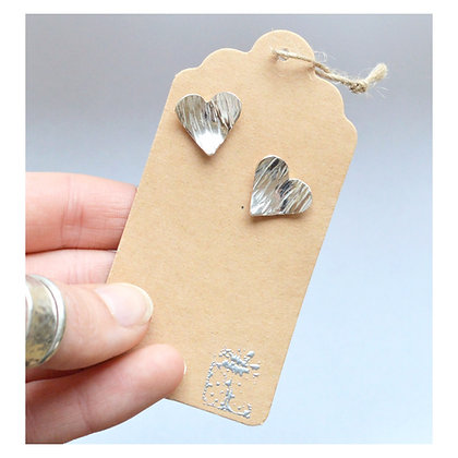 Sterling Silver Heart Studs - Striped