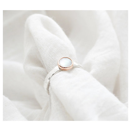 Silver and Copper Mother of Pearl Ring