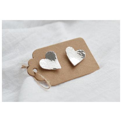 Sterling Silver Heart Studs - Beaten