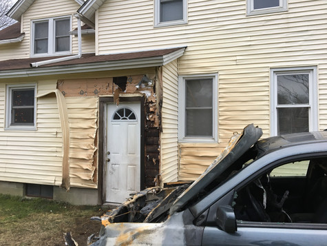 Customers vehicle had burst into flames (luckily nobody was hurt) and it melted the rear entry door as well as the siding. We worked with the insurance company to replace the siding on the rear of the home as well as a new door. Moriches, 1 of 2