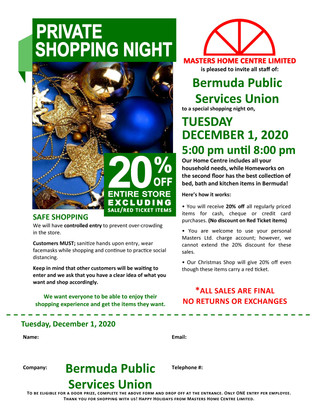 BPSU Members Private Shopping Night Masters Home Centre Limited