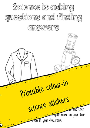 1 page Colour-in Science Stickers Printable