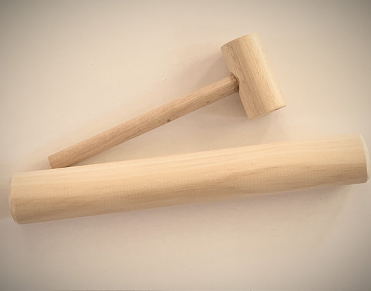 Wooden hammer and rolling pin