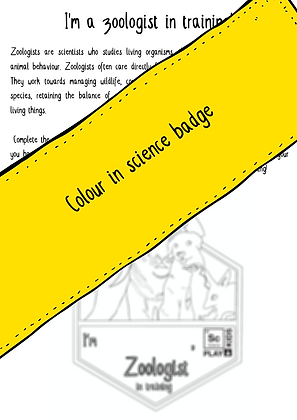 Printable Colour-in Zoologist badge and activity pack (6 pages total)