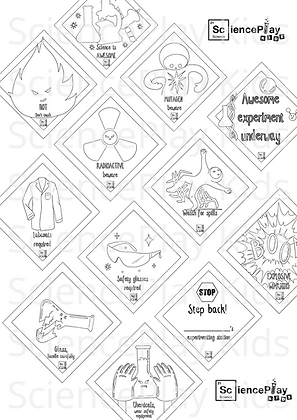 Colour-in Science Safety Stickers Printable