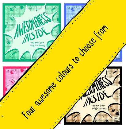 """""""Awesomeness inside"""" Printable Sticker for science book - Free"""