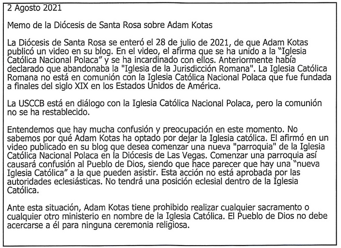 Diocese Letter (Spanish)