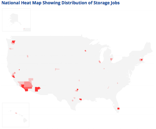Energy Storage Jobs heat map