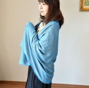 絹紬織_花浅葱色_80900