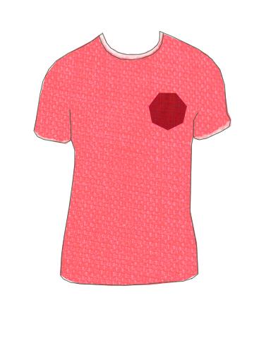camiseta bolsillo hexagonal rojo
