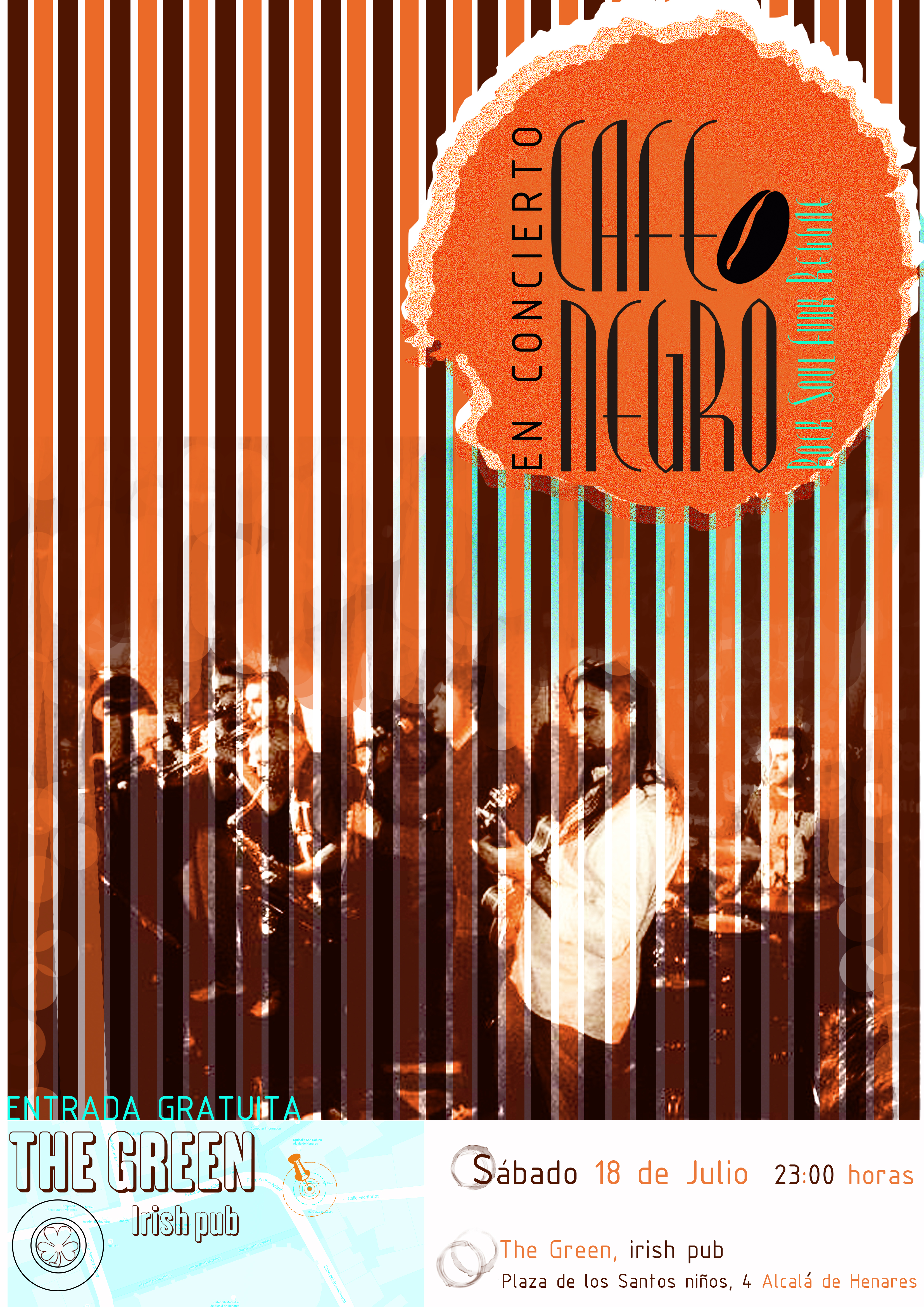 cartel concierto cafe negro green 2