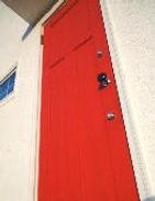 レッド 赤 アンティーク タイル happy ガラス取手 階段ペイント